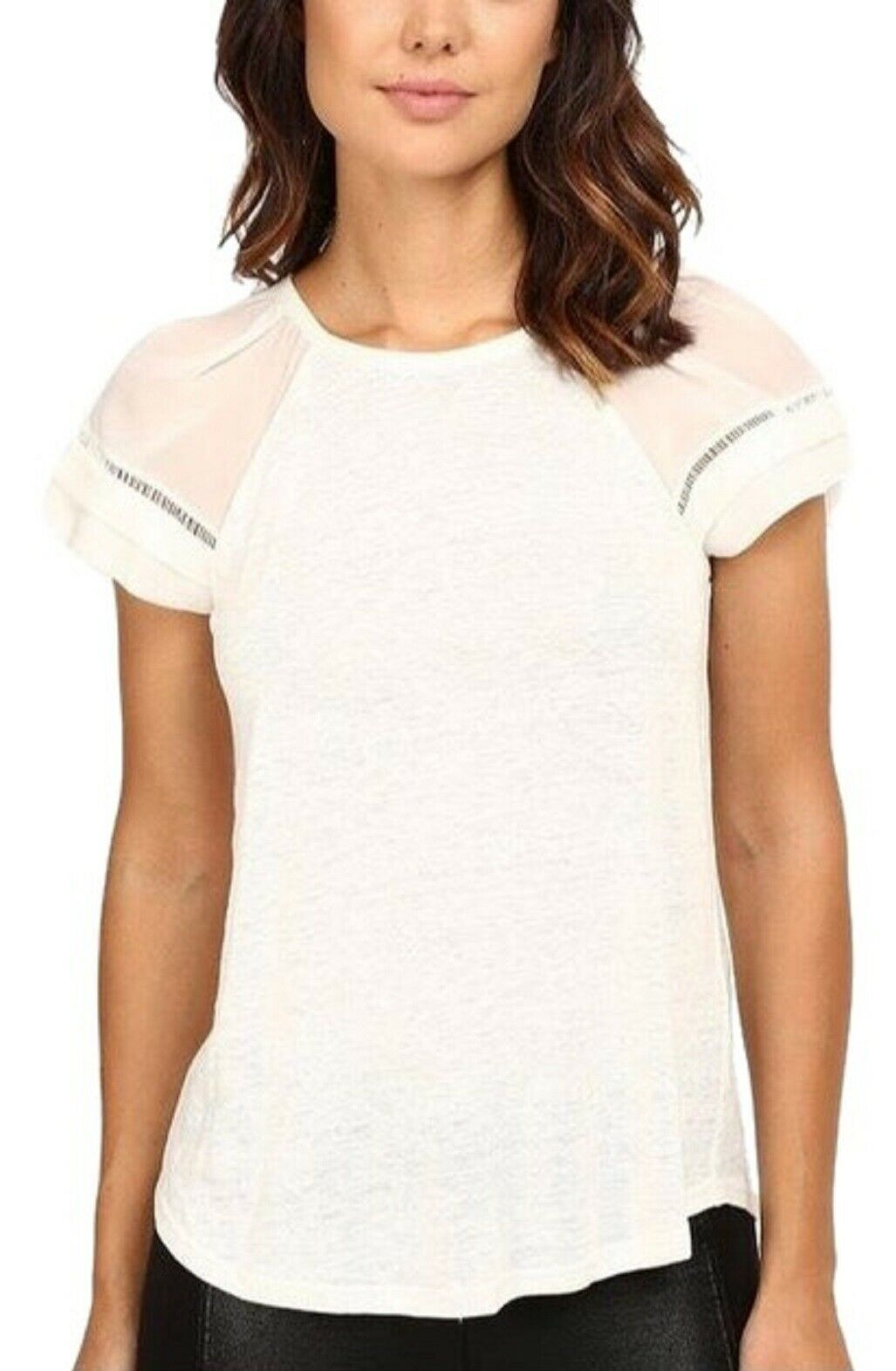 NWT  Rebecca Taylor SS Jersey Linen Top with Silk Sleeves