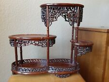 Finely Carved Chinese Vintage Faux Bamboo Wooden Wood Stand
