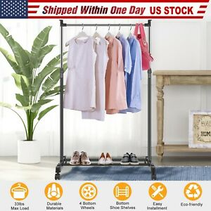 Heavy-Duty-Commercial-Garment-Rack-Rolling-Collapsible-Clothing-Shelf-w-Wheels