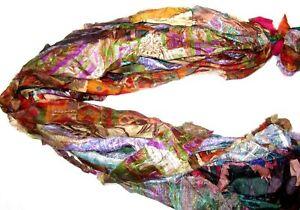 BO 12 yards Unstitched Recycled PURE Silk Sari Ribbon Tassels Yarn SKEINS Peach