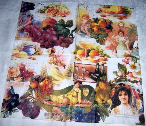 1 Lunch Serviette Früchte Engel Gesellschaft Ganzmotiv LIAB Sammlerserviette RAR