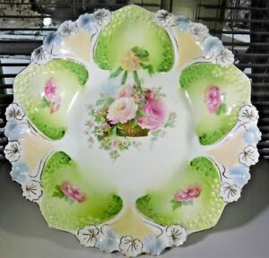 new product 1c920 f12bc Details about Fantastic HANGING BASKET R.S. Prussia HONEYCOMB Mold Bowl  EXCELLENT