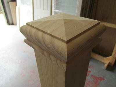 Solid Pine Pyramid Style Stair Newel Post Cap Rebate to fit 90mm Posts