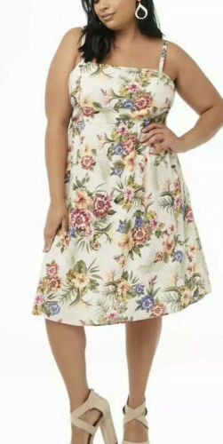 Forever 21 Ivory Tropical Floral Smocked Cami Midi Dress Plus 3X NWT