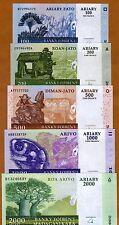 Madagascar Set, 100;200;500;1000;2000 Ariary 2004 UNC