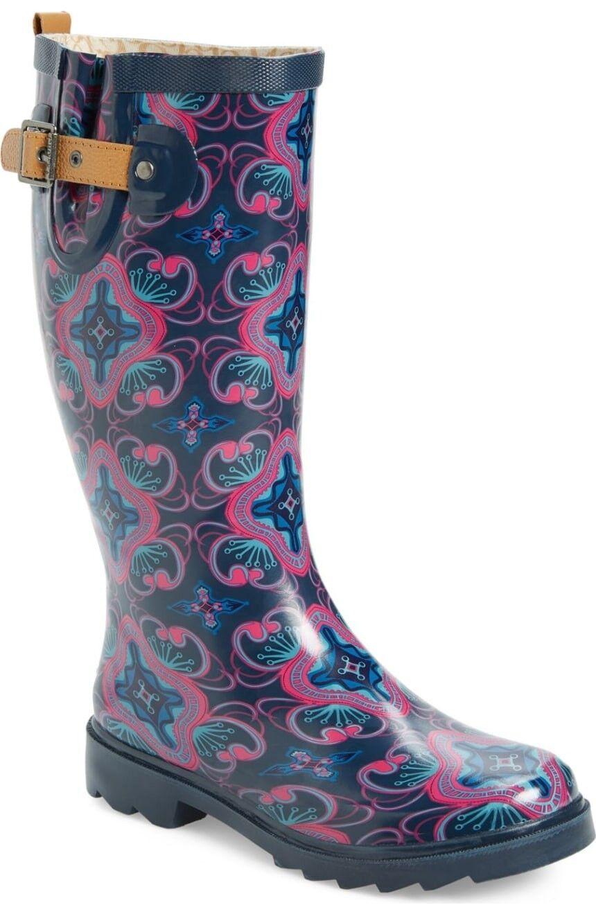 NEW CHOOKA WOMEN'S rainboot Rubber Waterproof Boot 'Magic Carpet' Purple Size 7