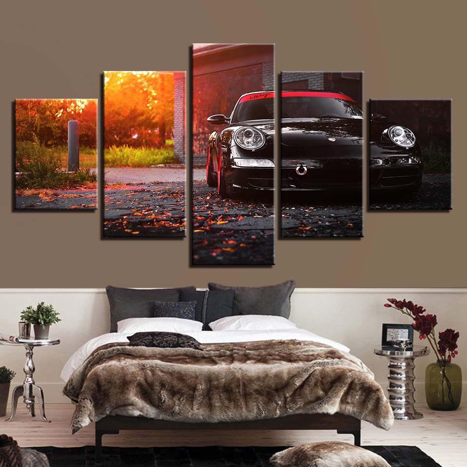 Porsche 911 Car Park Autumn Sunset 5 Panel Canvas Print Wall Art