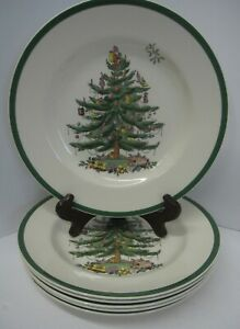 Set-6-Spode-Christmas-Tree-Plates-Dinner-ENGLAND-Holiday-10-75-034-Festive-Dishes