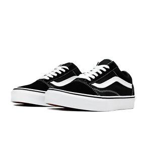 14590ad77f4d36 Image is loading Vans-Unisex-Old-Skool-Canvas-Black-White-Skateboarding-
