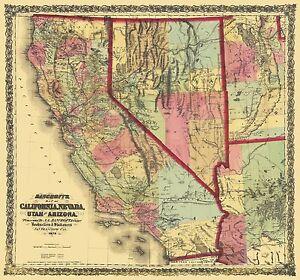Old state map california nevada utah arizona for California chiude l utah