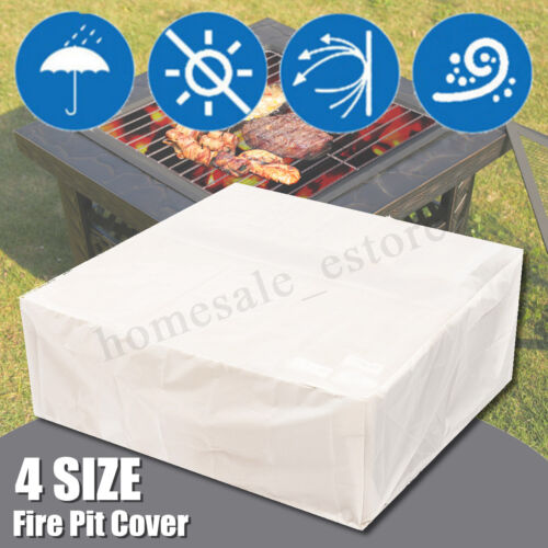 4 Size Fire Pit BBQ Cover Backyard Outdoor Garden Waterproof Protector Cover