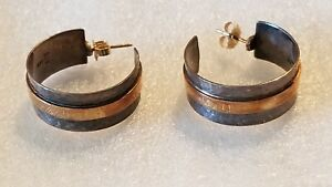 Retired James Avery Hammered Hoop Earrings 14kt Gold 925 Ja Box And Pouch Ebay