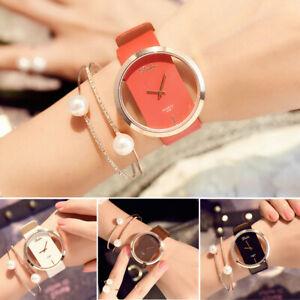 Elegant-Women-039-s-Transparent-Casual-Quartz-Watch-Leather-Strap-Wrist-Watches-Gift