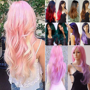 Pretty Two Tone Cosplay Anime Full Wig Pink Purple Blue Halloween ... cc9bbb783