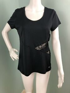 NWT Womens Bally Total Fitness S/S Black Lace Mesh Active Top Shirt Sz Medium