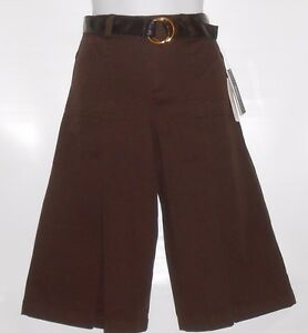BCX-Girl-Gauchos-amp-Faux-Leather-Belt-Brown-Eight-8-NWT