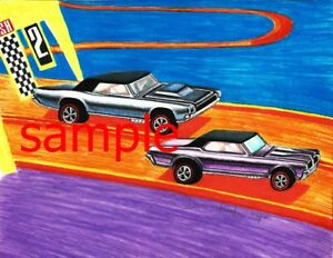HOT-WHEELS-REDLINES-RACES-THUNDERBIRD-amp-COUGAR-ART-PRINT-COLLECT-THEM-ALL
