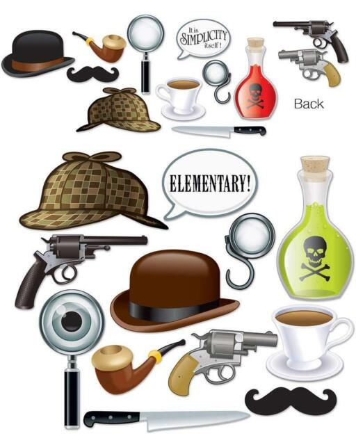 SHERLOCK HOLMES PHOTO BOOTH FUN SIGNS MURDER MYSTERY DECTECTIVE BRITISH PARTY