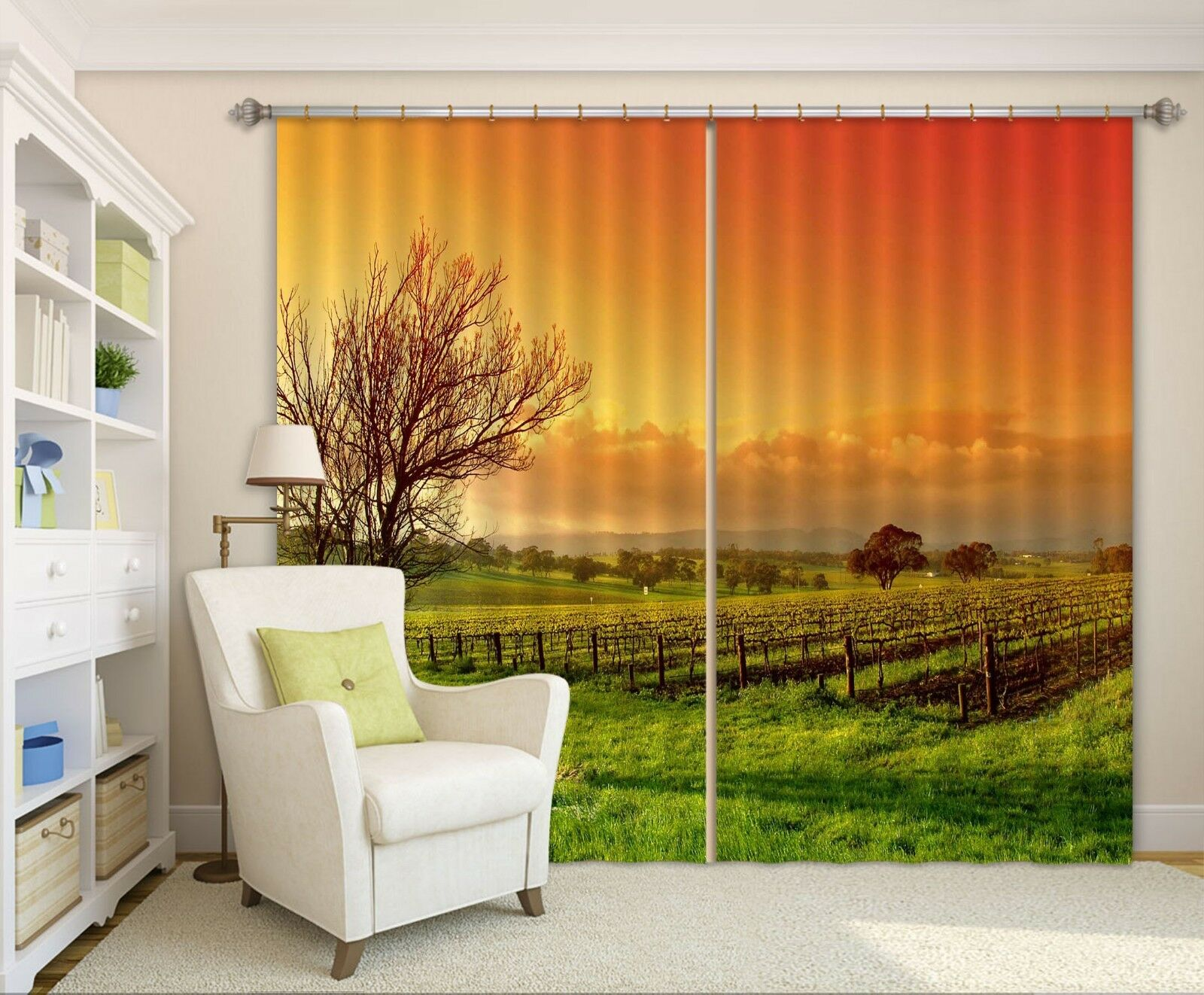 Campo 3D impresión fotográfica Sunset Blockout Cortinas Cortinas De Tela Cortina Ventana CA