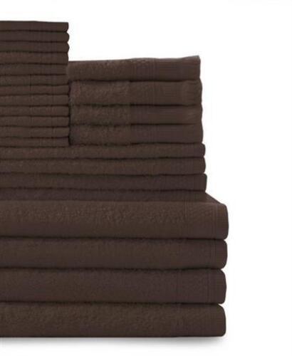 BELVEDERE Rangée Multi compter 100/% COTON COMPLET Ensemble de serviettes chocolat 24 pièces
