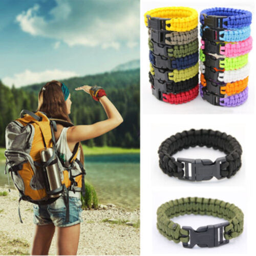 Survival Woven Buckle Rope Paracord Bracelets Hiking Camping  Emergency Gear