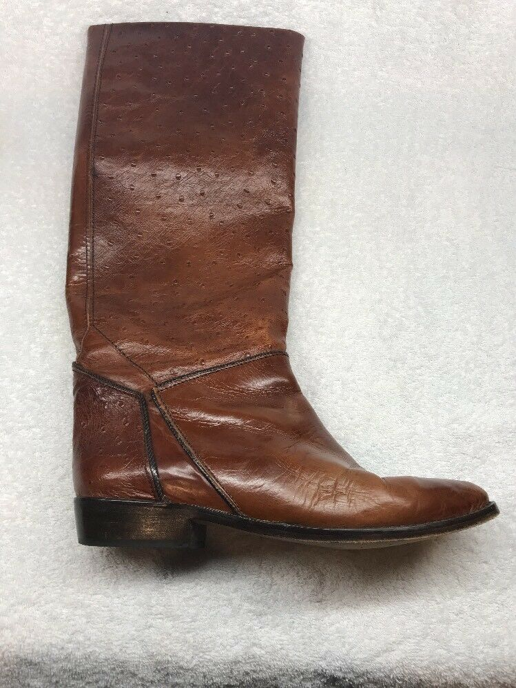 Claris Ostrich Quill Boots Womens 9 Brown Leather Boots Made In