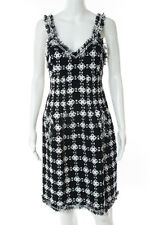 Chanel Black White Geometric Print Frayed Trim Sleeveless Dress Size FR 42 New