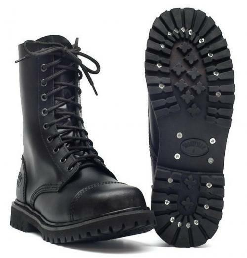 10-loch Bottes En Cuir Avec Acier Capuchon Noir Bottes Chaussures Gothique Profil Semelle