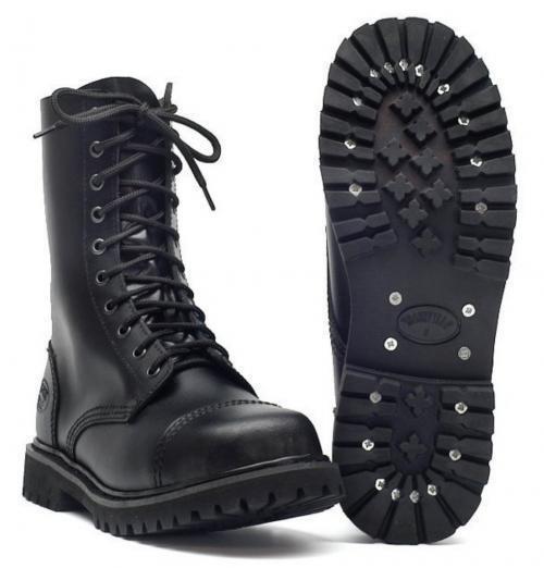 10-Loch Lederstiefel mit Schuhe Stahlkappe schwarz Stiefel Gothic Schuhe mit Profilsohle eb881b