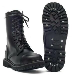 Offiziell UK Ranger Gothic Punk Style Leder Loch Boots