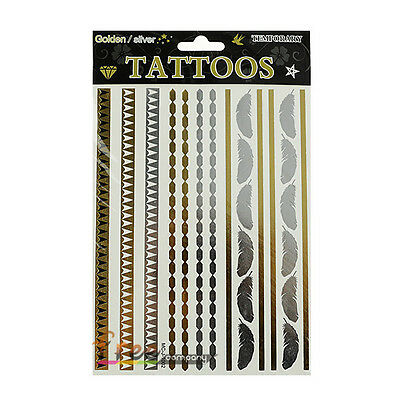 1 Sheet Temporary Flash Tattoo Inspired Body Makeup Sticker Gold Silver Metallic