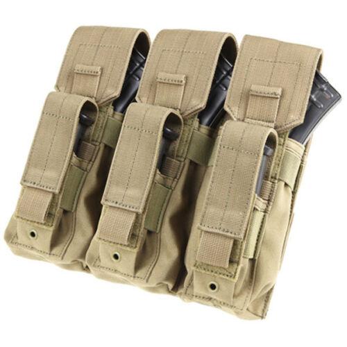 Condor MA72 Tan MOLLE Modular Triple Kangaroo 7.62 Rifle//Pistol Magazine Pouch