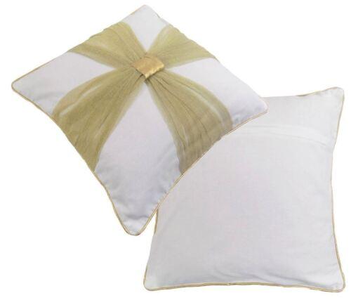 """Filled Gold Crème Mariage Noël Bow coton brodé COUSSIN 18/"""" 45 cm"""