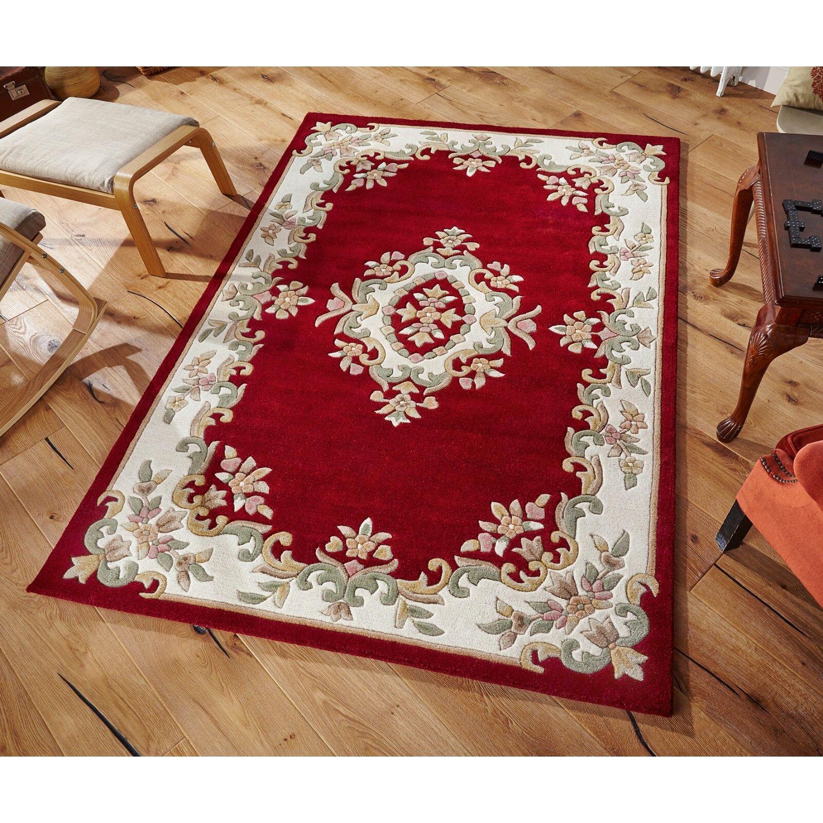 Royal aubusson tapis en laine rouge rouge rouge dans différentes tailles demi lune et cercle | Service Supremacy  3d4a28