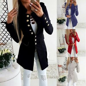 Retro-Women-Work-OL-Long-Sleeve-Slim-Fit-Casual-Blazer-Suit-Jacket-Coat-Outwear