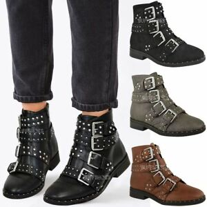 ef229effb1681 Womens Ladies Studded Flat Ankle Boots Strappy Biker Buckles Amelia ...