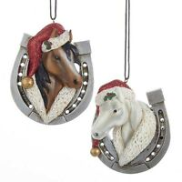 Horse W/santa Hat & Horseshoe Ornament