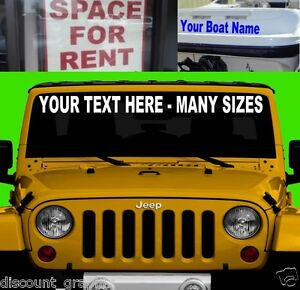 CUSTOM WINDSHIELD TEXT LETTERING PERSONALIZED DECAL STICKER - Custom car decals for business   how to personalize