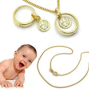 Baby Jungen Taufe Taufring Safir blau Weiß Gold 375 9 Kt mit Kette Silber 925