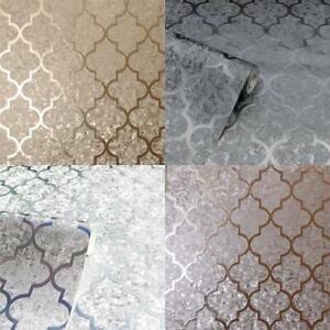 Arthouse Luxury Foil Velvet Trellis Geometric Textured Wallpaper 4 Colours 10m