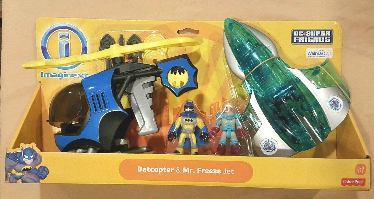 New IMAGINEXT DC Comics SUPER FRIENDS BATMAN BATCOPTER & MR. FREEZE JET Playset