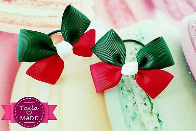 School Club Hair Accessories Red Green Hairties