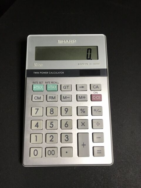 Sharp Elsimate EL-334M Calculator 10 Digit Twin Power Solar Desk Basic Tax Rate