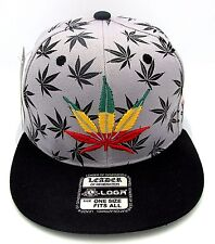 MARIJUANA Leaf Snapback Cap Hat Rasta 420 THC Cannabis Weed Dope Gray Black NWT