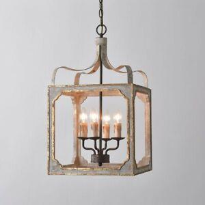 Light Square Lantern Chandelier Wooden