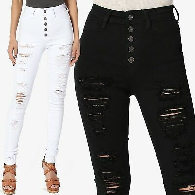 exceptional range of styles picked up low priced TheMogan High Waist Ripped Distressed Destroyed Torned Skinny Jeans White  Black | eBay