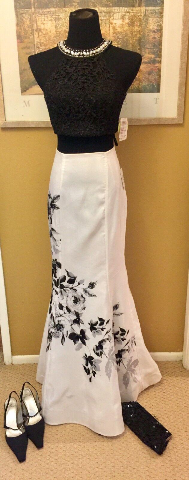 damen SEQUIN HEARTS Homecoming Prom Formal schwarz & Weiß 2 Piece Gown Größe 3,5