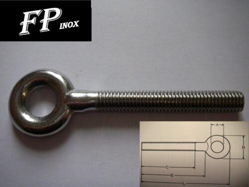 Anneau tige filetée M8 mm inox 304 Longueur 54mm