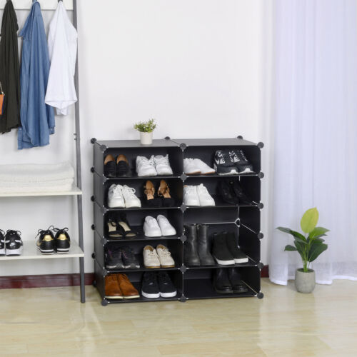 Schuhregal Schuhständer Steckregal Regalsystem Garderobe DIY SR0052sz Schwarz