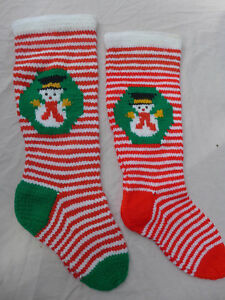 image is loading vintage snowman christmas stockings hand knit striped red - Striped Christmas Stockings
